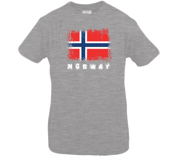 Image of T-shirt Norway and flag, mottled grey