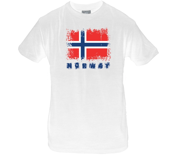 Image of T-shirt Norway and flag, white