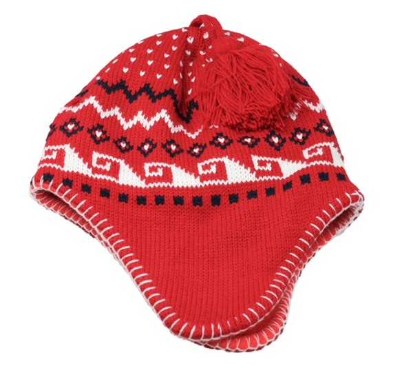 Image of Knitted hat for children, red/white with ear