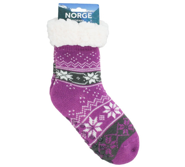 Image of Knitted sock with stars purple/grey