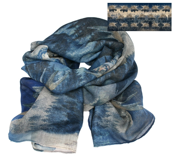 Image of Scarf, the king of the forest. Blue/beige
