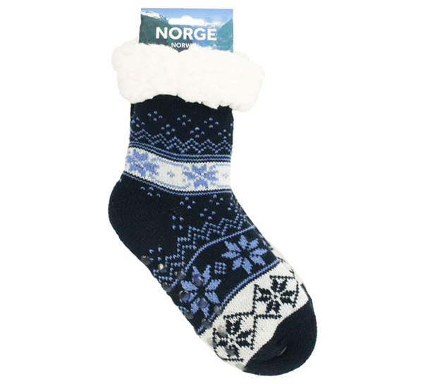 Image of Knitted sock with stars blue/light blue