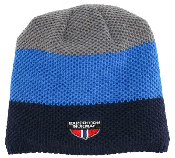 Image of Knitted hat black/blue/grey 100% acrylic