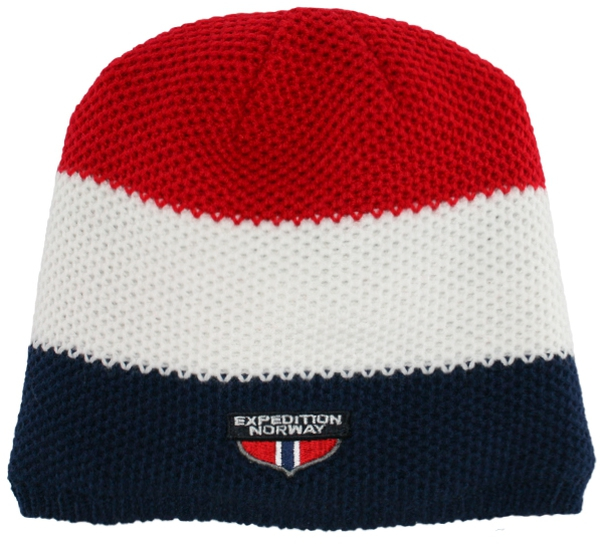 Image of Knitted hat blue/white/red 100% acrylic