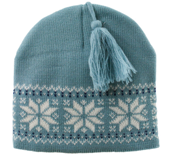 Image of Knitted hat star pattern blue/white with tassel
