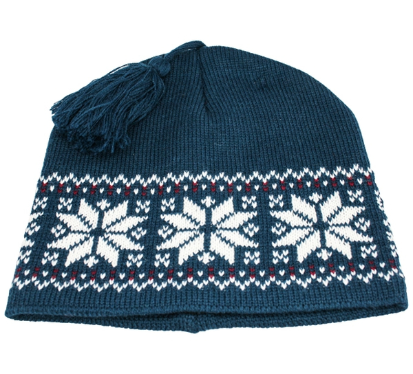 Image of Knitted hat star pattern petrol/white with tassel