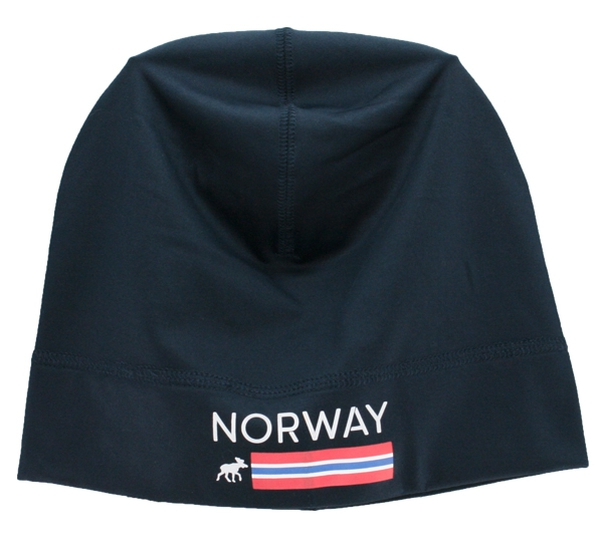 Image of Hat with flag stripes and moose, Norway Blue