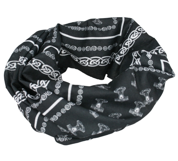 Image of Neck gaiter with pattern of Thors hammer