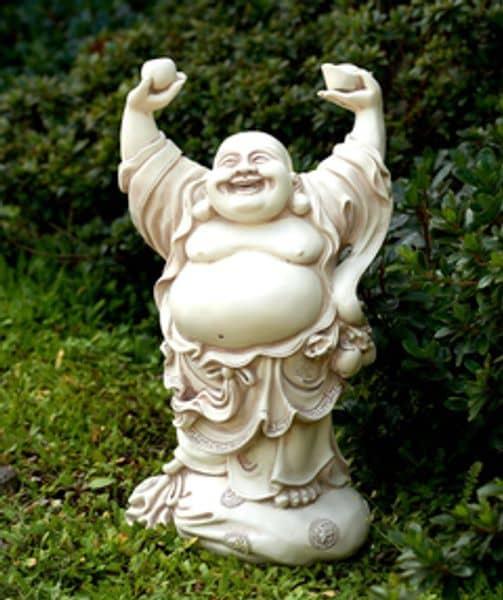 Bilde av Happy Buddha 39cm lysgrå