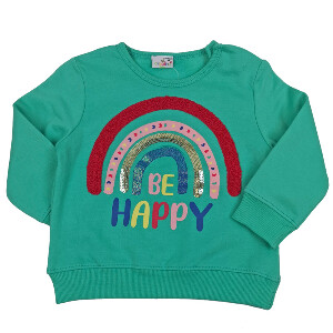 Bilde av Sweatshirt med paljetter - Be Happy