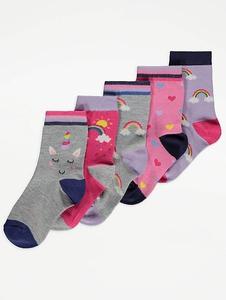 Bilde av 5pk sokker - Unicorn and rainbows