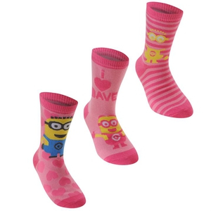 Bilde av 3pk sokker - Minions - Rosa