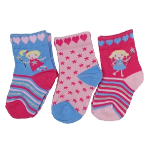 Bilde av 3pk sokker - Fe, hjerter og stjerner