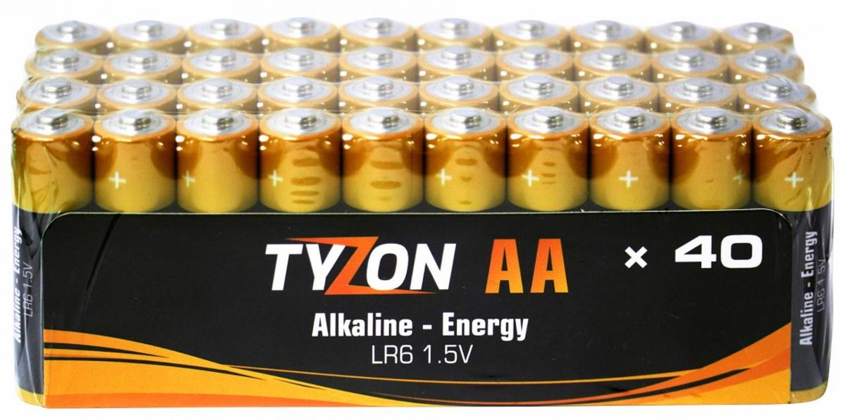 Tyson1,5 V AA alkaliske batterier, 40 stk