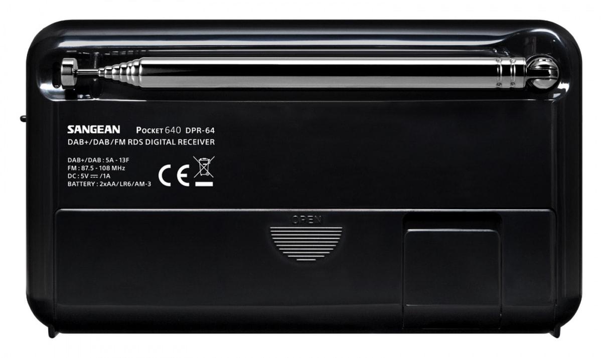 Sangean lommeradio DAB DPR-64 Pocket 640 Svart