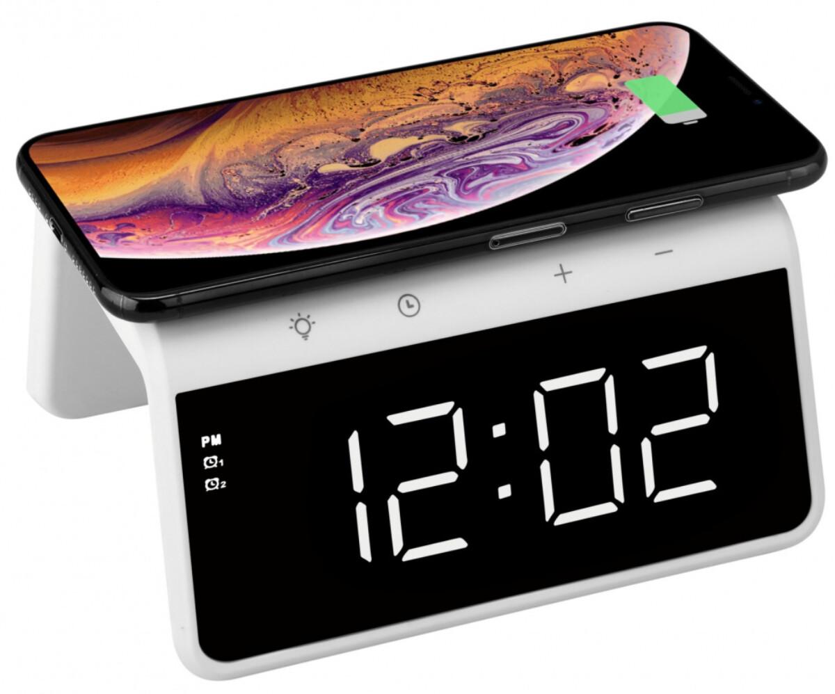 TargetTrådløs lader med klokke, Audix SY-W0258, hvit220259