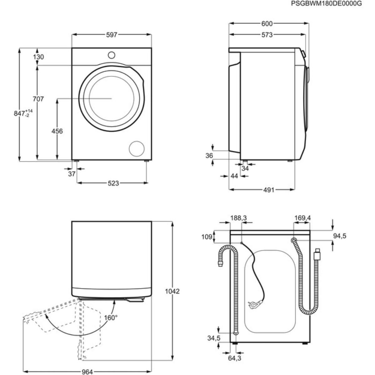 AEG vaskemaskin 8 kg 1400 omdr.L6FBN842G