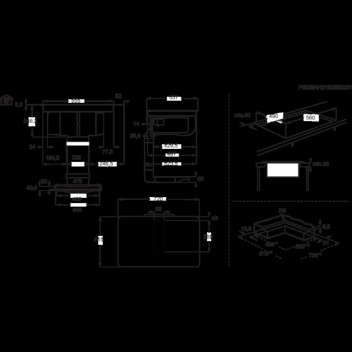 Aeg induksjon platetopp med ventilator 72 cm IDE74243IB