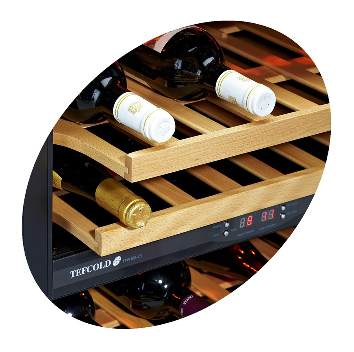 Tefcold vin kjøleskap svart 82 cm TFW160-2S