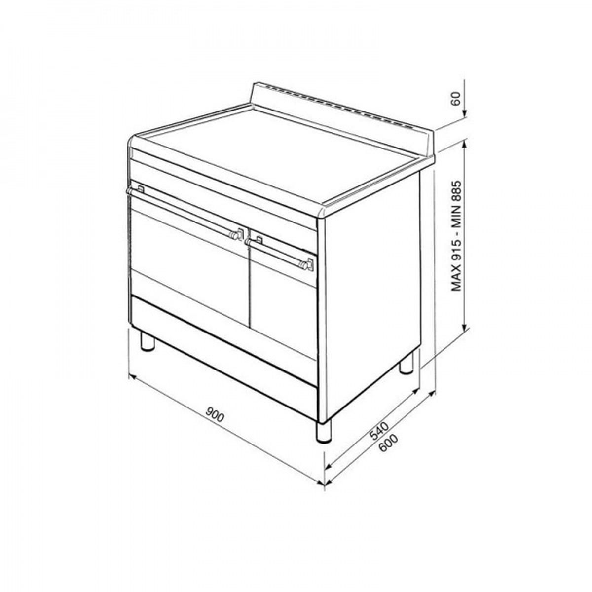 Smeg Classic komfyr 2 ovner rustfritt stål SCB92MX8