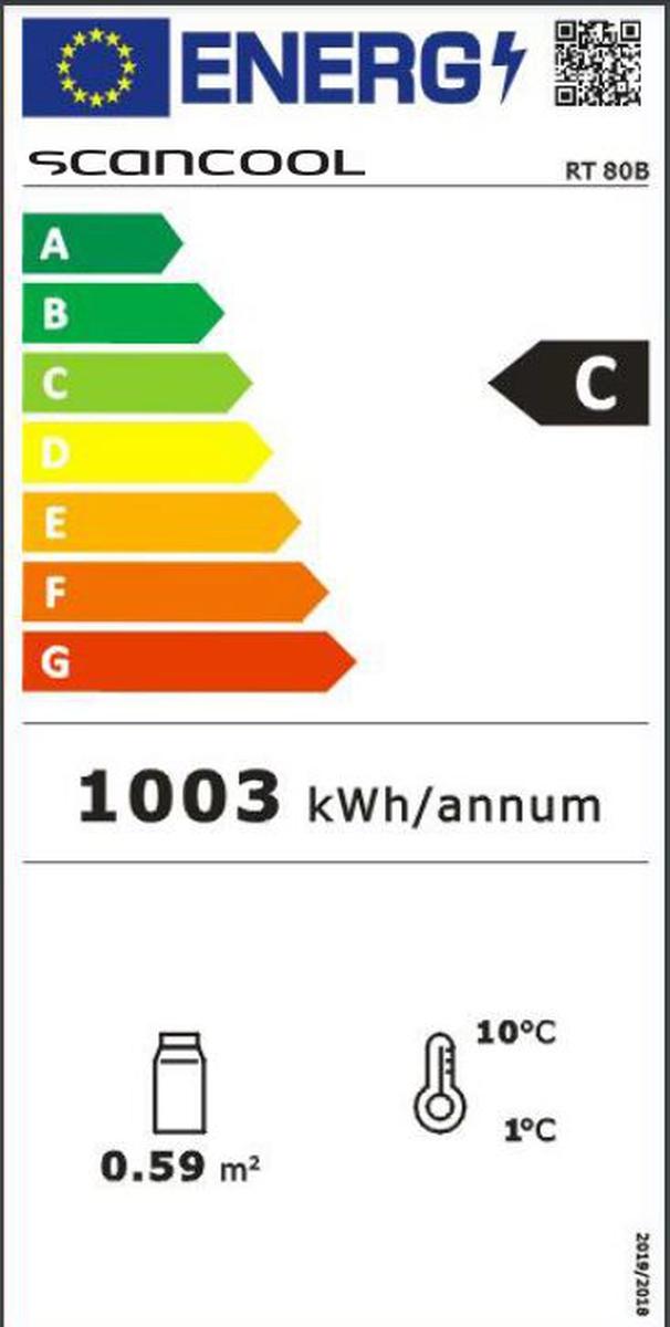 Scandomestic display kjøleskap RT 80B sort