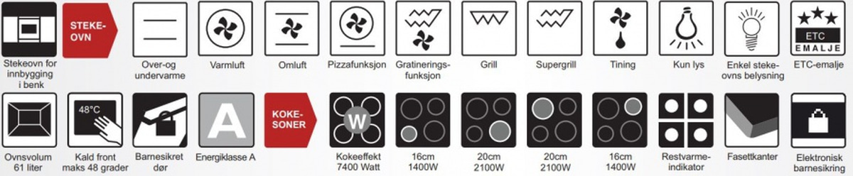 Beha stekeovn og keramisk platetopp SB 624 KT stål/sort