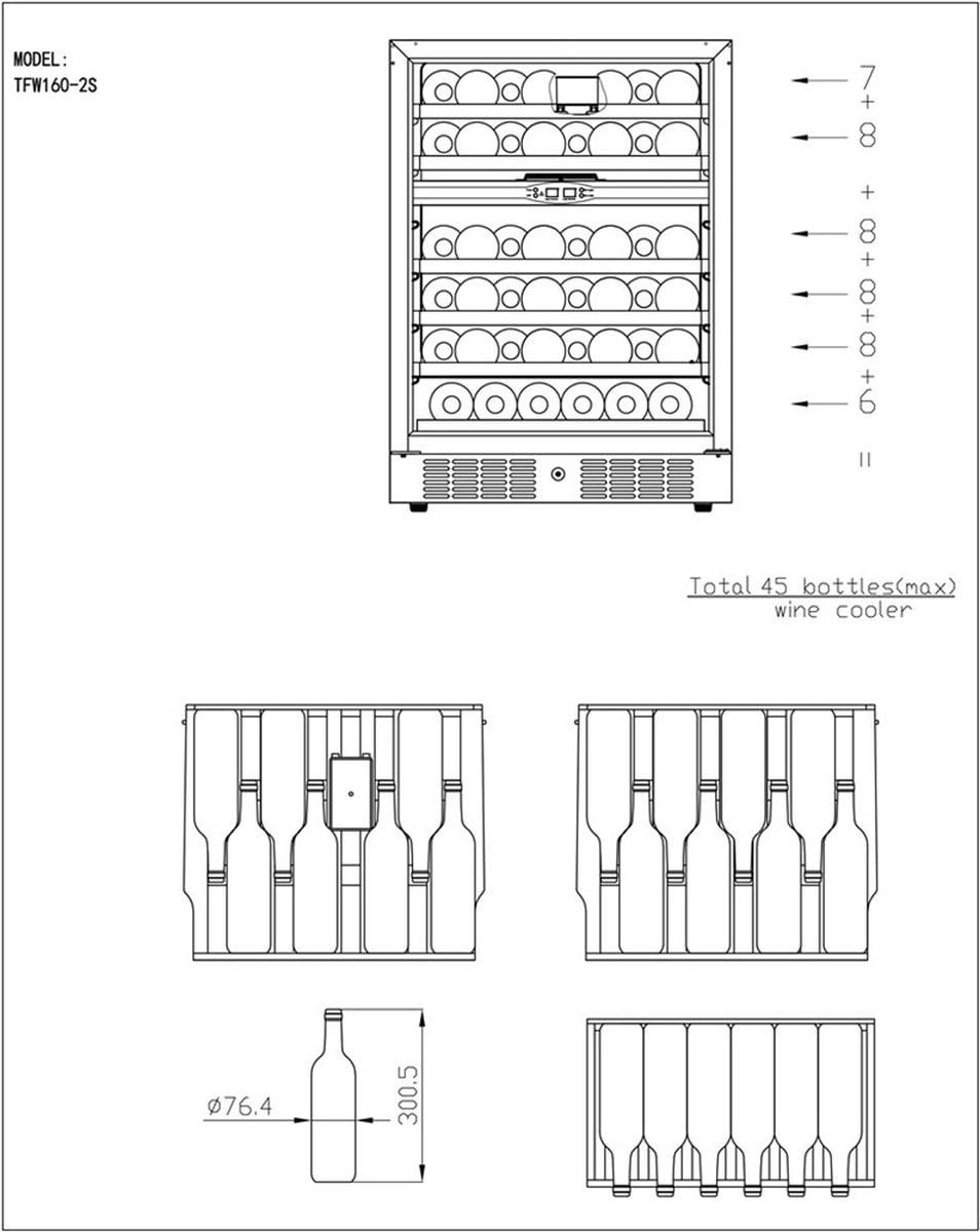 TefcoldVinskap sort 2 soner 82 cm TFW160-2F