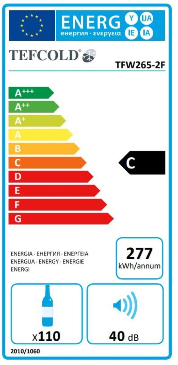 Tefcold vinskap sort 2 soner 139 cmTFW265-2F