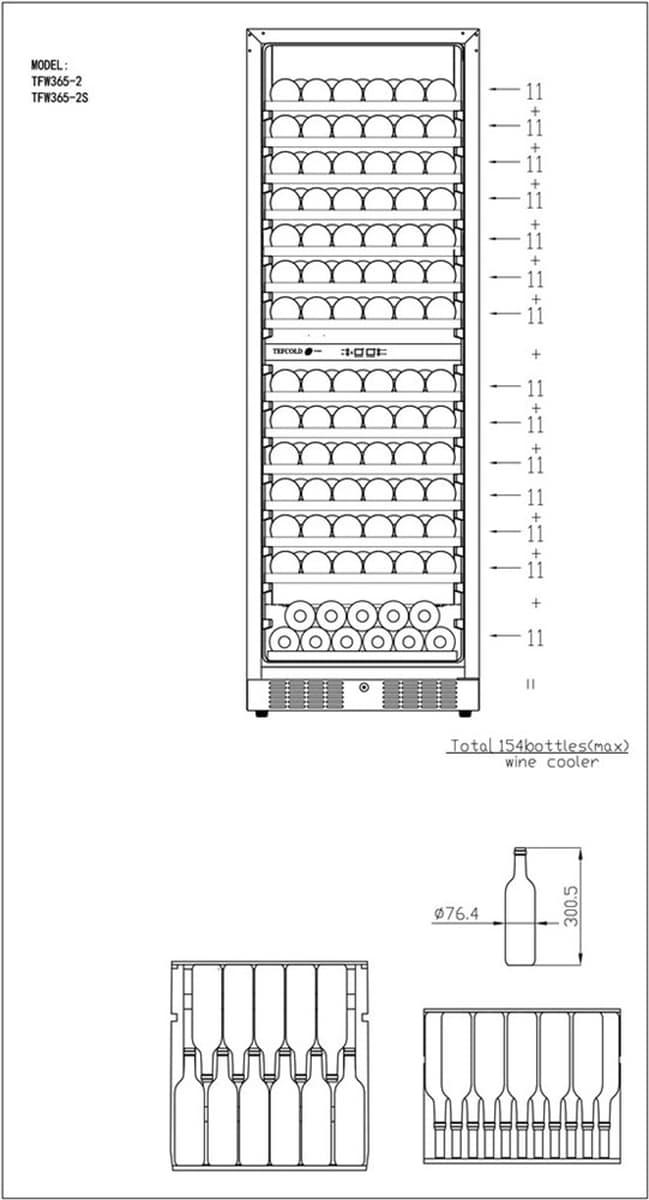 Tefcold vinskap sort 2 soner 176 cmTFW365-2F