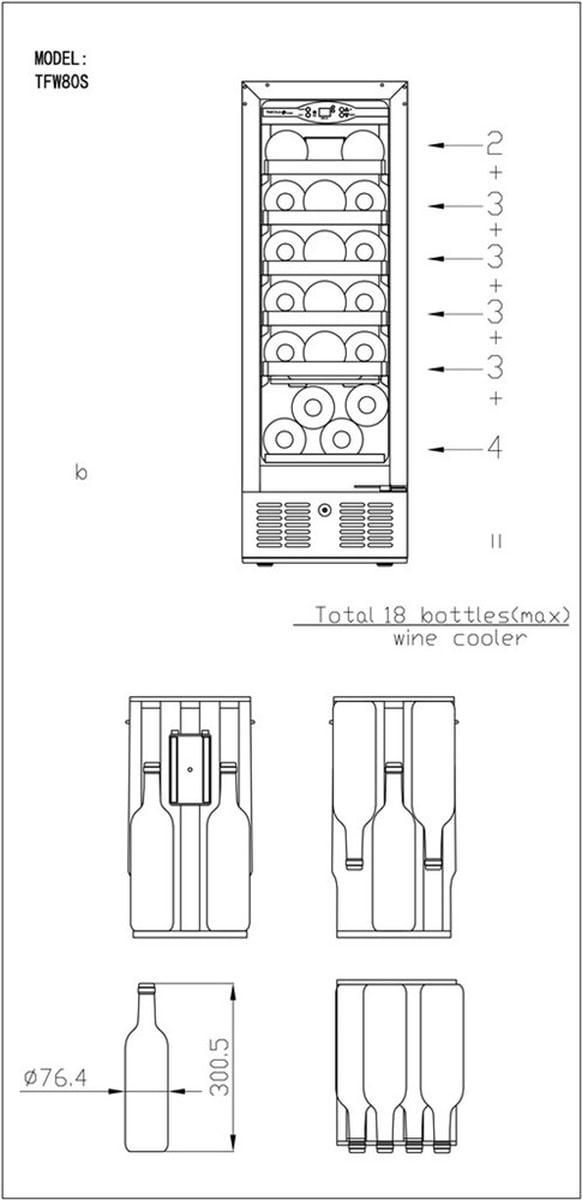 Tefcold vinskap sort 1 sone, dørkarm/håndtak i rustfritt stål 86