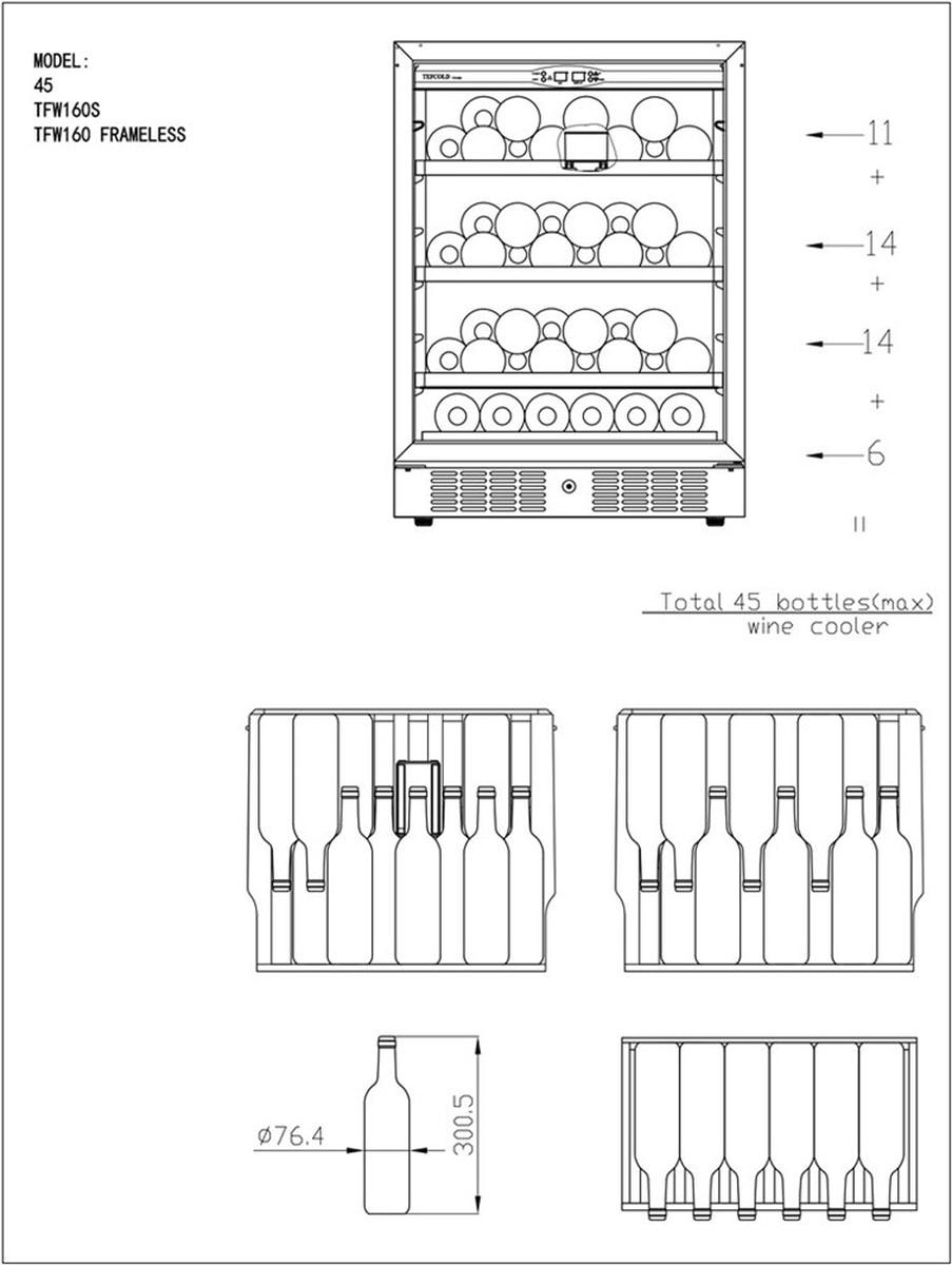 Tefcold vinskap sort / rustfritt stål 1 sone 82 cmTFW160S