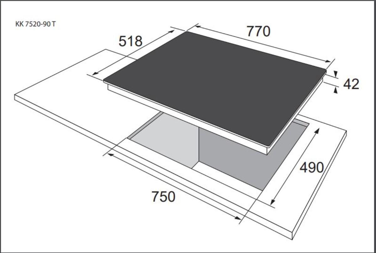 Gram keramisk platetopp 77 cm 5 soner KK 7520-90 T