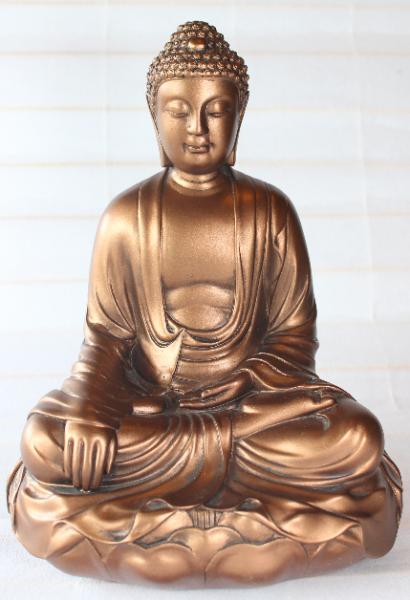 Bilde av Bronsefarget buddha på lotus