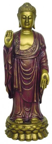 Bilde av Buddha Stående rød/gull