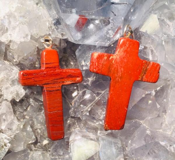 Bilde av Kors, Rød Jaspis