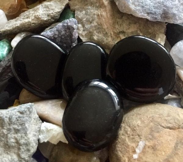 Bilde av Obsidian Sort Lommestein