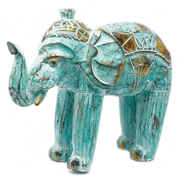 Bilde av Utskjært Elefant Turkis Gull