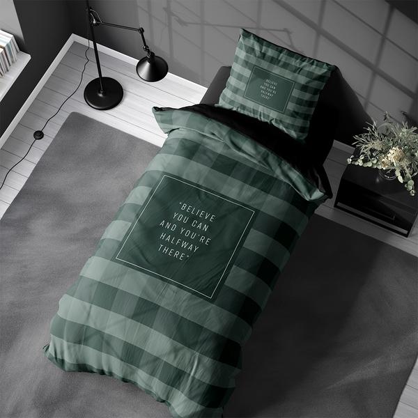 Bilde av Påslakanset Checkers Green