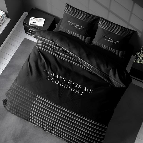 Bilde av Påslakanset Always Kiss Me Goodnight Black