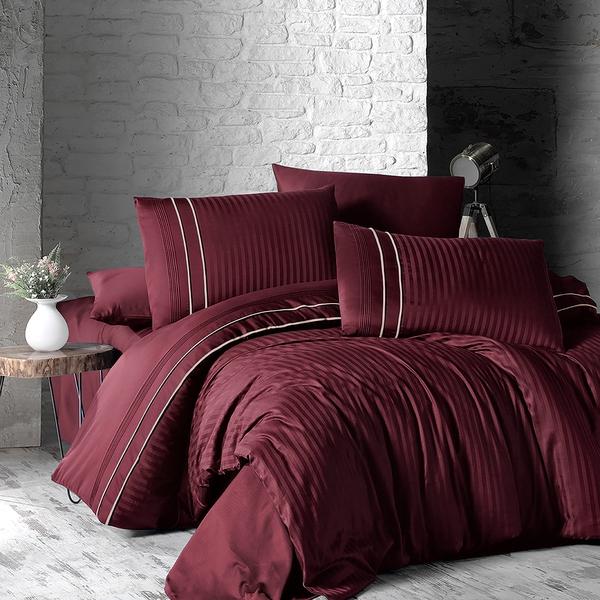 Bilde av Påslakanset Deluxe Stripe Style Dark Red