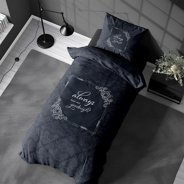 Bilde av Påslakanset Always Kiss Me Goodnight Blue