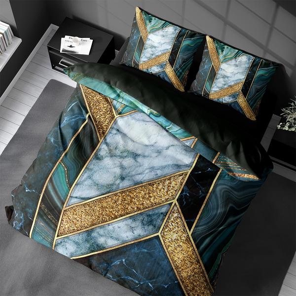 Bilde av Påslakanset Marble Art Green