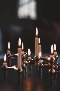 Bilde av Stoff lysestake 3pk, Antikk