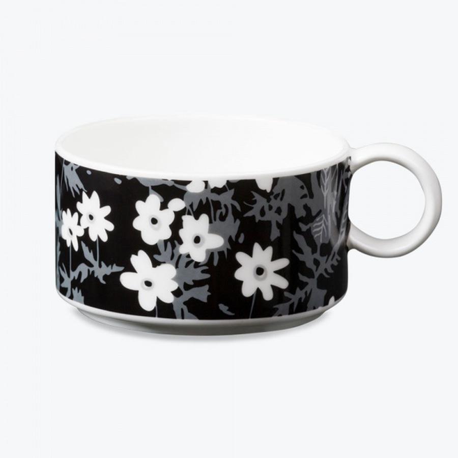 Flower Porcelain Tea Cup, Design Letters