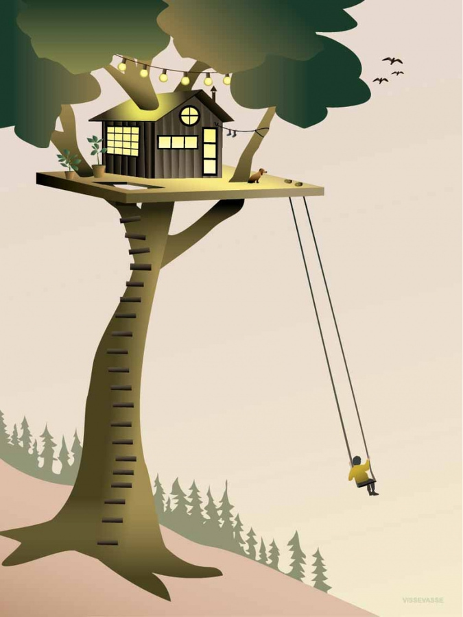 VisseVasse Tree house 50x70plakat