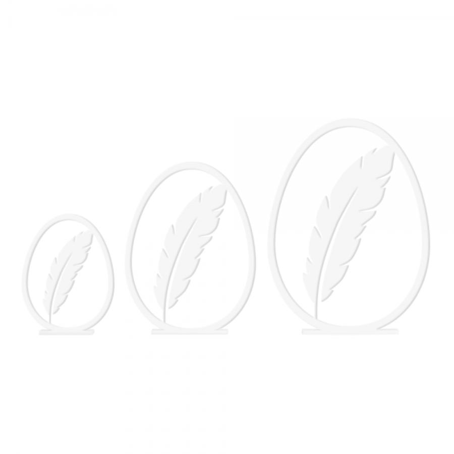 Felius Design Fjær påskeegg 3stk, White