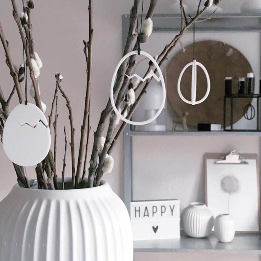 Felius Design Klekket påskeegg streken 2stk, white