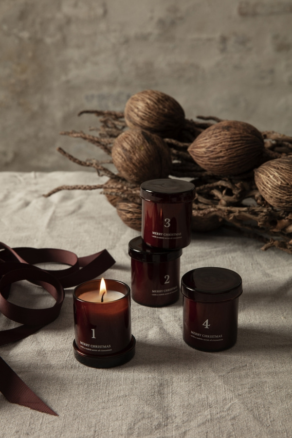 Ferm Living Scented Advent Candles set of 4, Black
