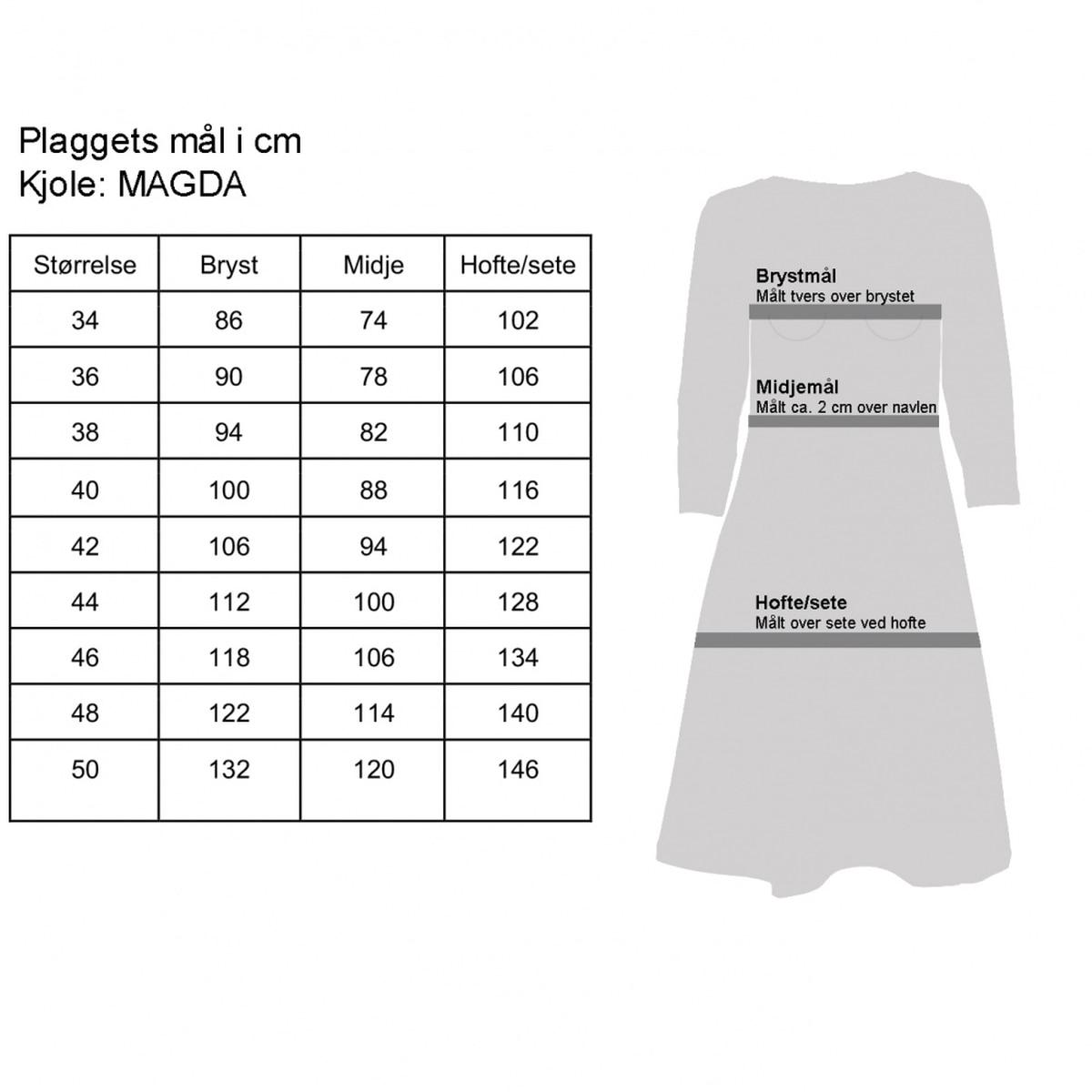 Magda sort og oransje kjole