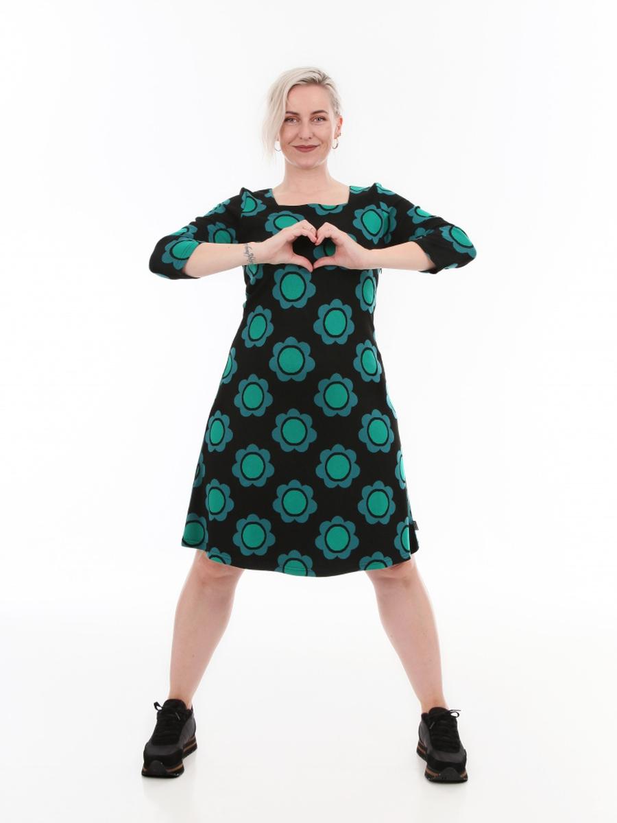 Liva dress black green petrol